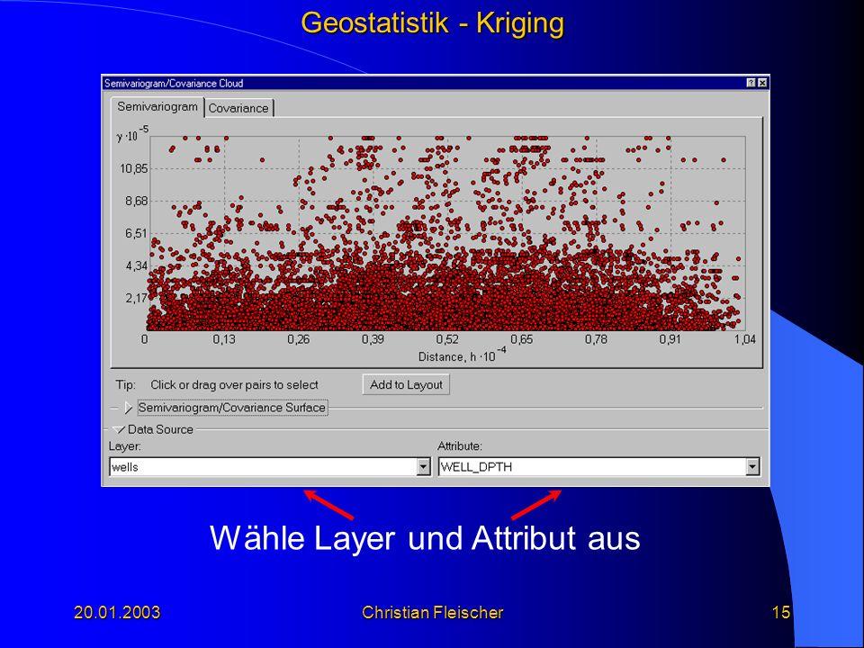 Geostatistik - Kriging 20.01.2003Christian Fleischer15 Wähle Layer und Attribut aus