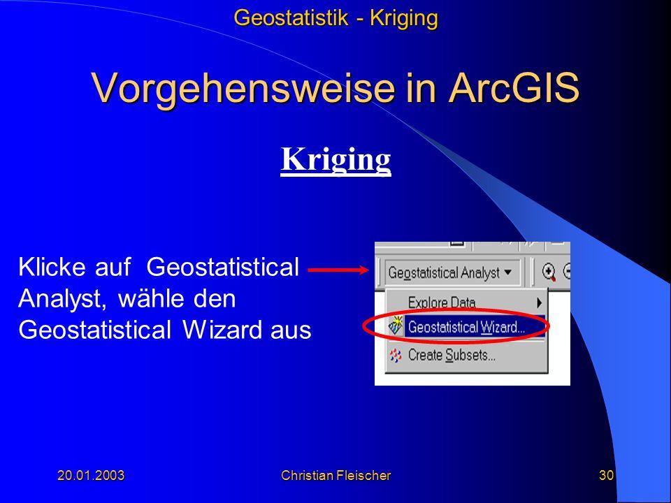 Geostatistik - Kriging 20.01.2003Christian Fleischer30 Vorgehensweise in ArcGIS Kriging Klicke auf Geostatistical Analyst, wähle den Geostatistical Wi