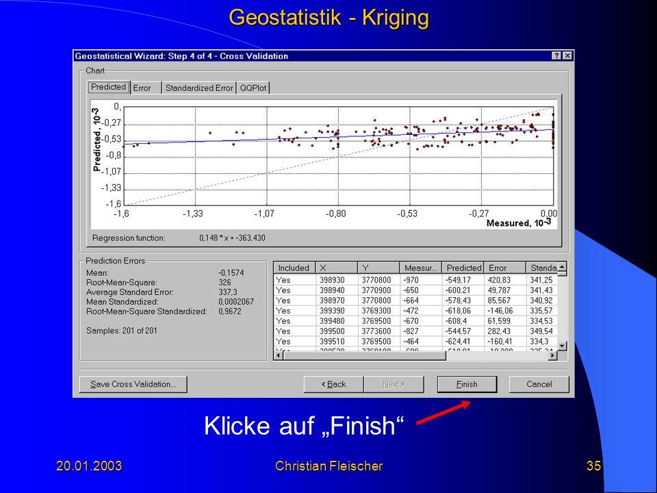 Geostatistik - Kriging 20.01.2003Christian Fleischer35 Klicke auf Finish