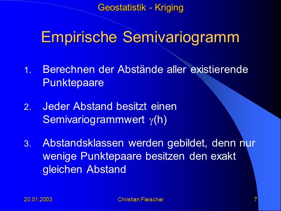 Geostatistik - Kriging 20.01.2003Christian Fleischer7 Empirische Semivariogramm 1. Berechnen der Abstände aller existierende Punktepaare 2. Jeder Abst
