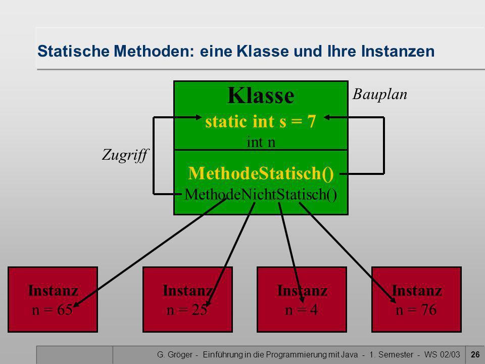 G. Gröger - Einführung in die Programmierung mit Java - 1. Semester - WS 02/0326 MethodeStatisch() MethodeNichtStatisch() Statische Methoden: eine Kla