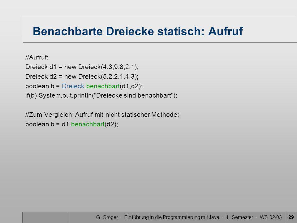 G. Gröger - Einführung in die Programmierung mit Java - 1. Semester - WS 02/0329 Benachbarte Dreiecke statisch: Aufruf //Aufruf: Dreieck d1 = new Drei