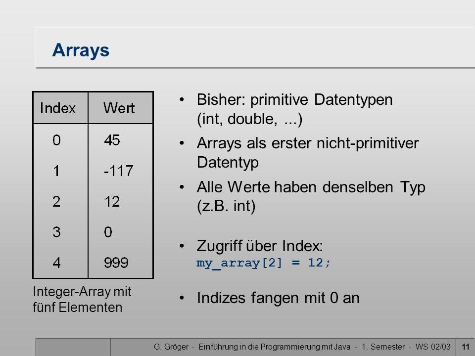 G. Gröger - Einführung in die Programmierung mit Java - 1. Semester - WS 02/0311 Arrays Bisher: primitive Datentypen (int, double,...) Arrays als erst