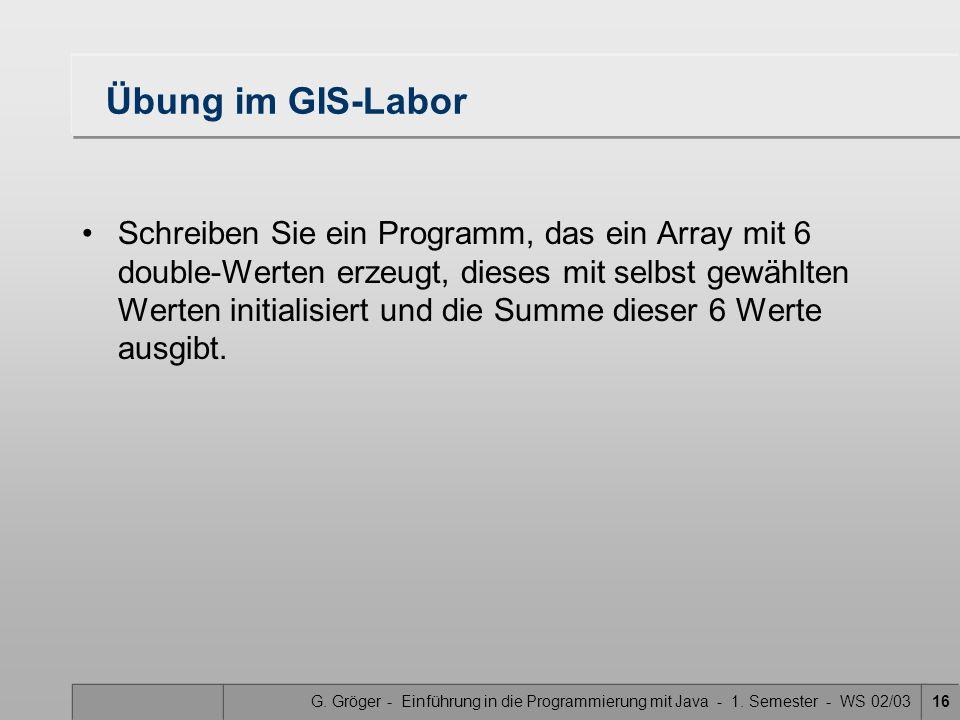 G. Gröger - Einführung in die Programmierung mit Java - 1. Semester - WS 02/0316 Übung im GIS-Labor Schreiben Sie ein Programm, das ein Array mit 6 do