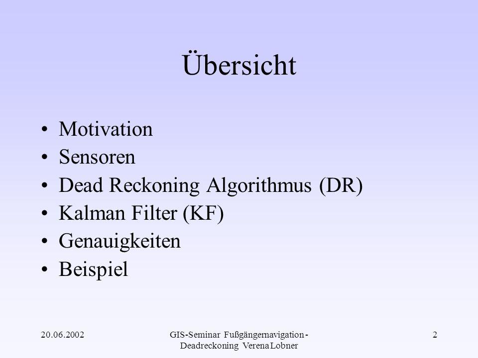 20.06.2002GIS-Seminar Fußgängernavigation - Deadreckoning Verena Lobner 13 Kombination beider Sensoren Magn.