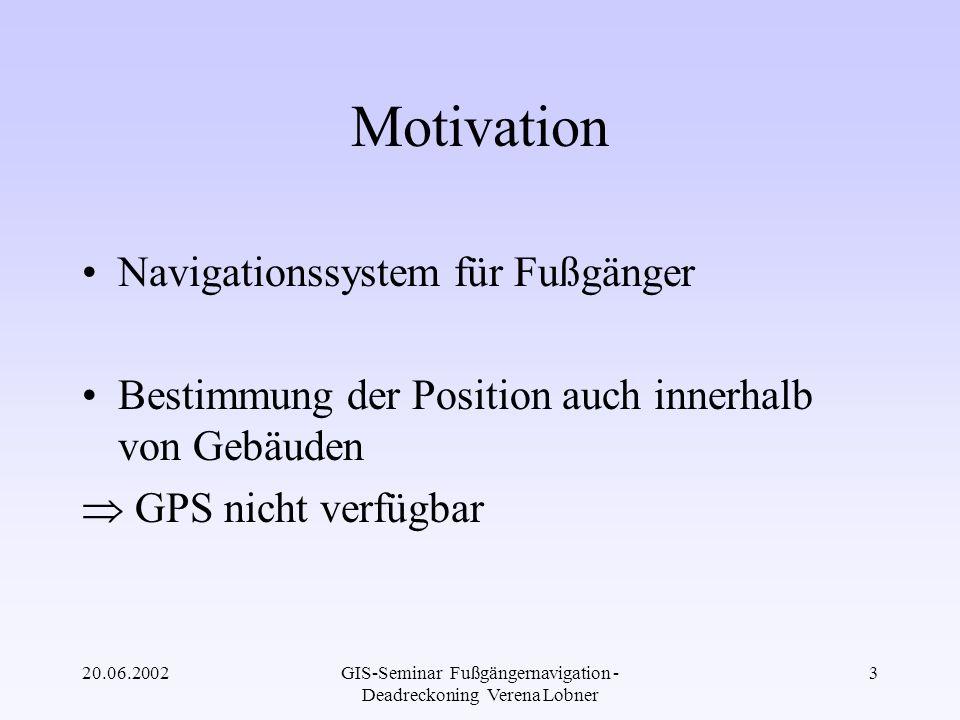20.06.2002GIS-Seminar Fußgängernavigation - Deadreckoning Verena Lobner 14 Störungsdetektion Detektion der magn.
