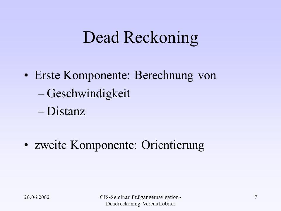 20.06.2002GIS-Seminar Fußgängernavigation - Deadreckoning Verena Lobner 28 Kalman Filter Kalman Filter Winkel, Bias, Maßstabsfunk- tion, Position KreiselWinkel Dig.