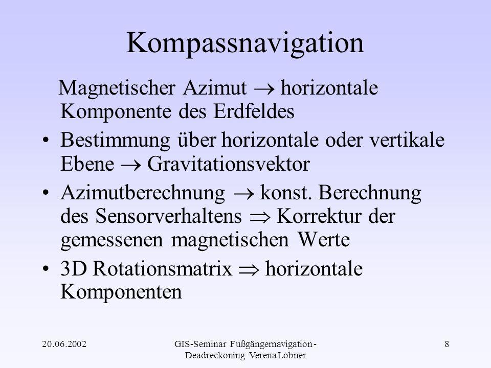 20.06.2002GIS-Seminar Fußgängernavigation - Deadreckoning Verena Lobner 29 Filterung und de-noising Kompass bestimmt direkt das Azimutsignal anstatt die Winkelgeschwindigkeit –direkte Konsequenz: sehr verrauschtes Signal bei 60 Hz –signifikante Azimutänderungen werden berücksichtigt im begrenzten Frequenzbereich von 3 Hz einfacher Filter kann das Signal nicht optimal glätten Kaskade von folgenden low-pass Filter zum de-noising