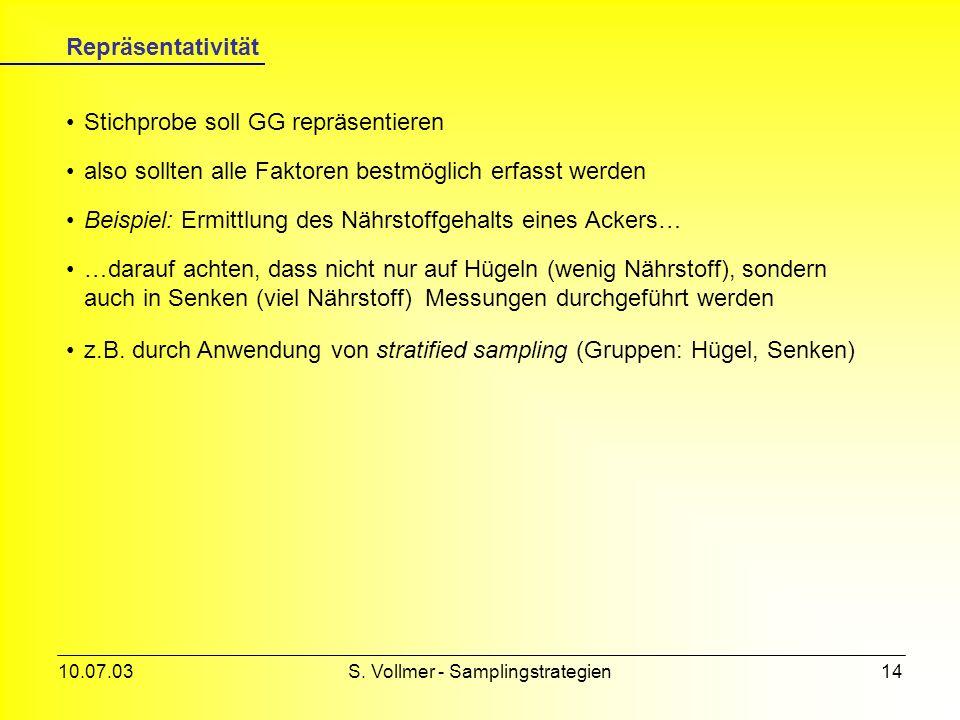 10.07.03S. Vollmer - Samplingstrategien13 Multi-stage sampling Grundgesamtheit Kombination mehrerer sampling-Methoden Steigerung der Effizienz, mobile