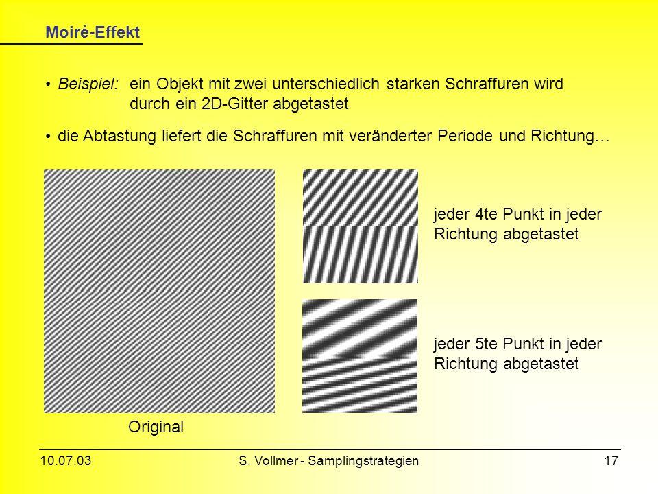 10.07.03S. Vollmer - Samplingstrategien16 Abtastung je nach Rastergröße führt die Abtastung zu einer Reduktion der Auflösung (vgl. jpg-Komprimierung v