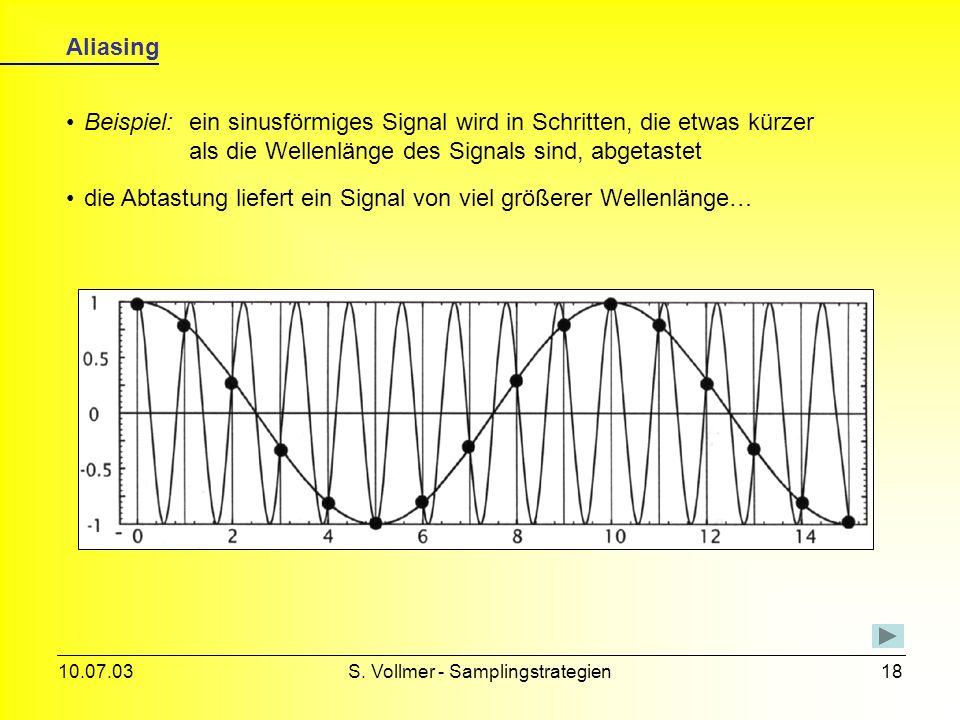 10.07.03S. Vollmer - Samplingstrategien17 Moiré-Effekt Beispiel: ein Objekt mit zwei unterschiedlich starken Schraffuren wird durch ein 2D-Gitter abge