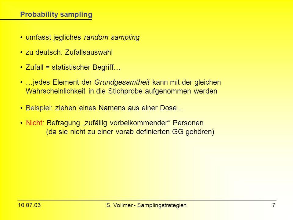 10.07.03S. Vollmer - Samplingstrategien6 Non-probability sampling einfache Geometrie der Probennahme Ergebnis nicht immer repräsentativ für die GG Bei