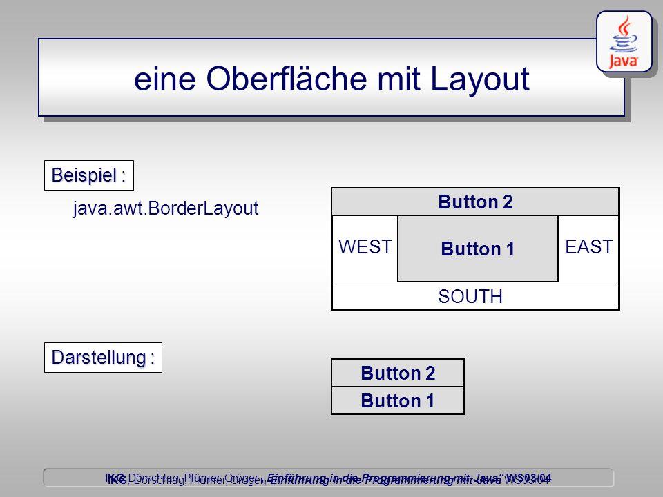 IKG Dörschlag, Plümer, Gröger Einführung in die Programmierung mit Java WS03/04 Dörschlag IKG; Dörschlag, Plümer, Gröger; Einführung in die Programmierung mit Java WS03/04 eine Oberfläche mit Layout java.awt.BorderLayout NORTH EAST SOUTH WEST Beispiel : Button 2 Button 1 Darstellung : Button 2 Button 1