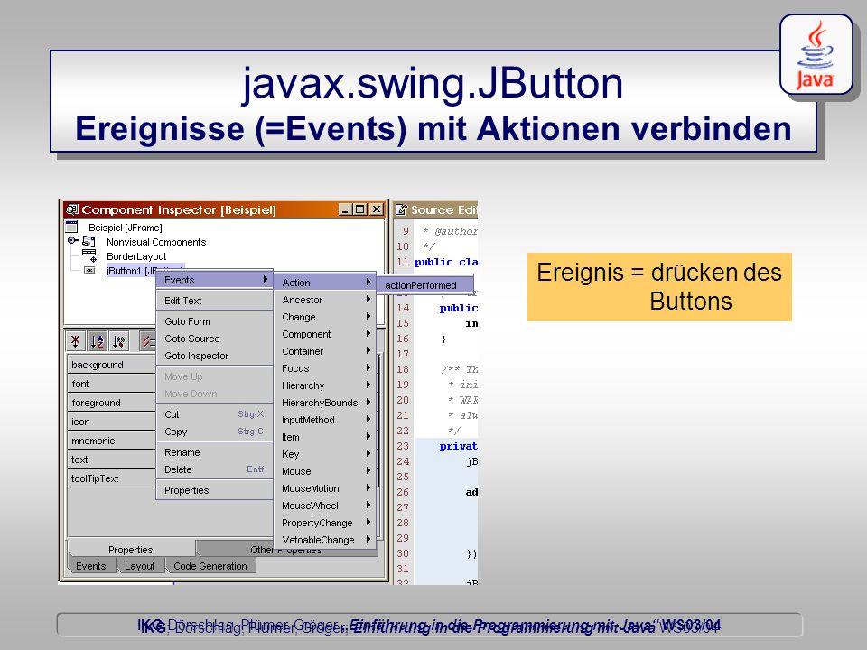 IKG Dörschlag, Plümer, Gröger Einführung in die Programmierung mit Java WS03/04 Dörschlag IKG; Dörschlag, Plümer, Gröger; Einführung in die Programmierung mit Java WS03/04 javax.swing.JButton Ereignisse (=Events) mit Aktionen verbinden Ereignis = drücken des Buttons