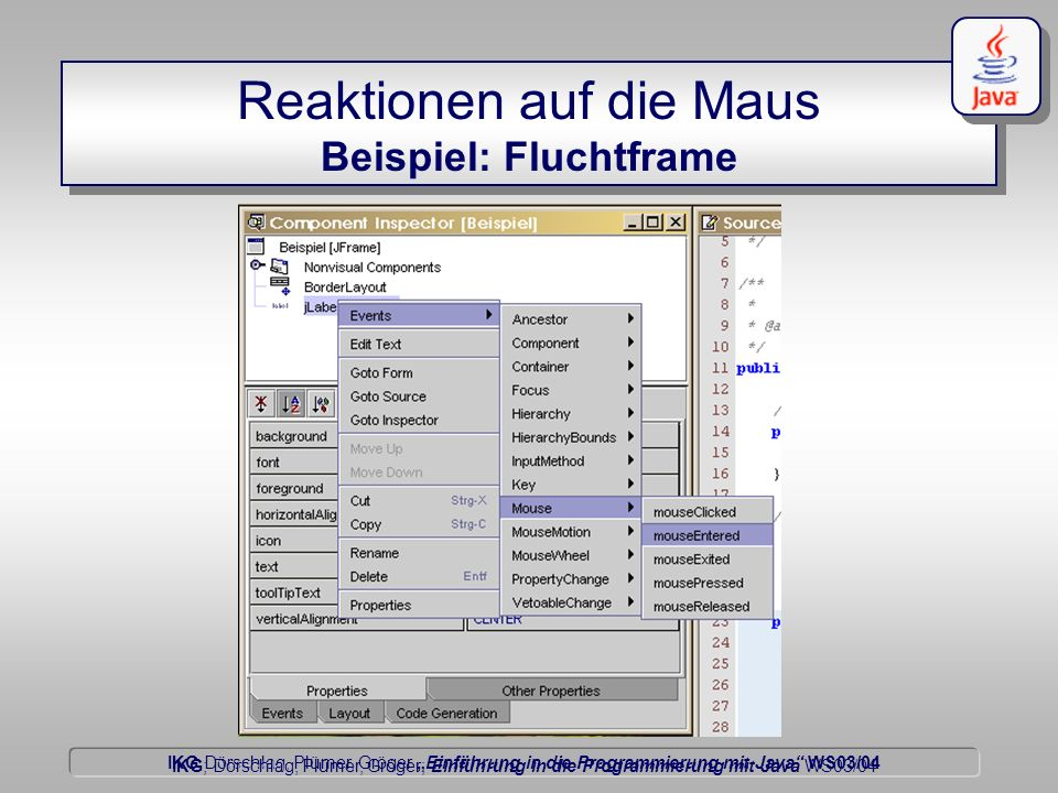 IKG Dörschlag, Plümer, Gröger Einführung in die Programmierung mit Java WS03/04 Dörschlag IKG; Dörschlag, Plümer, Gröger; Einführung in die Programmierung mit Java WS03/04 Reaktionen auf die Maus Beispiel: Fluchtframe
