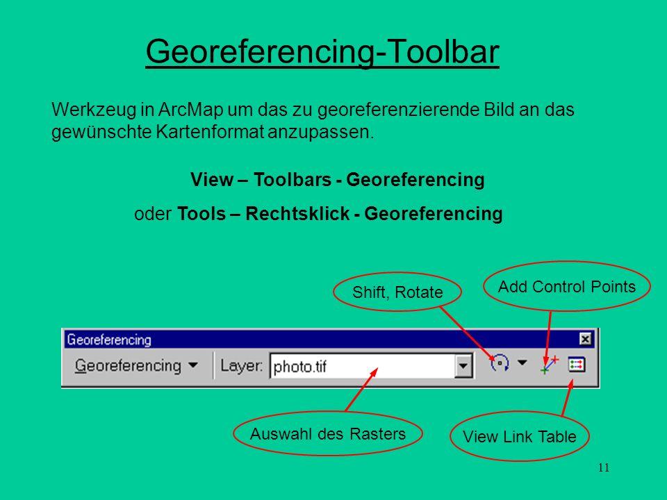 11 Georeferencing-Toolbar Add Control Points View Link Table Auswahl des Rasters Werkzeug in ArcMap um das zu georeferenzierende Bild an das gewünscht