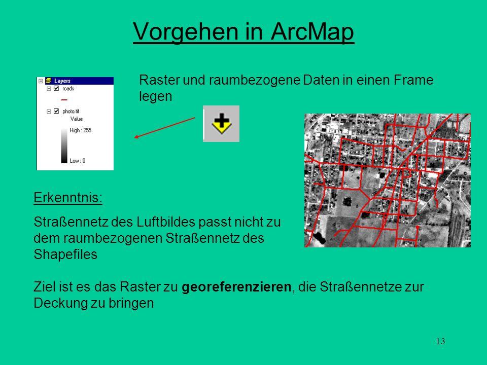 13 Vorgehen in ArcMap Raster und raumbezogene Daten in einen Frame legen Erkenntnis: Straßennetz des Luftbildes passt nicht zu dem raumbezogenen Straß