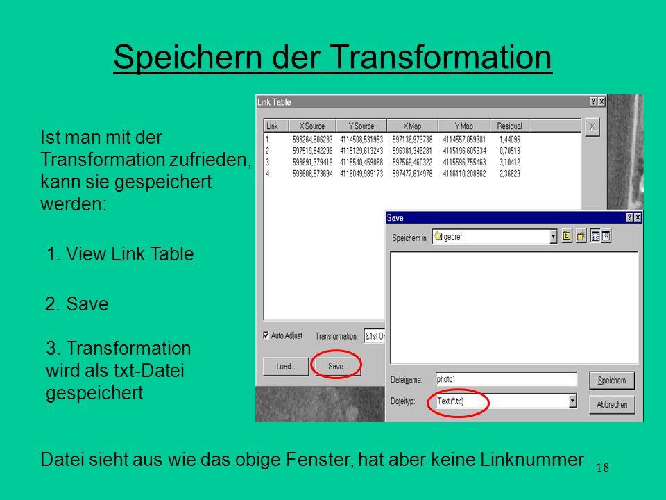 18 Speichern der Transformation Ist man mit der Transformation zufrieden, kann sie gespeichert werden: 3. Transformation wird als txt-Datei gespeicher