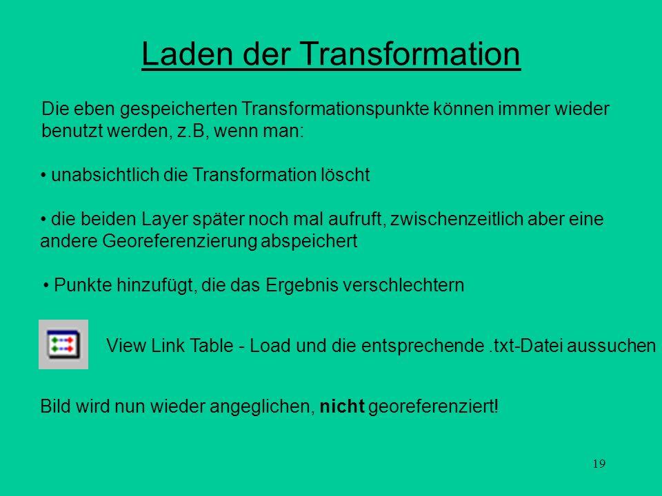 19 Laden der Transformation Die eben gespeicherten Transformationspunkte können immer wieder benutzt werden, z.B, wenn man: unabsichtlich die Transfor