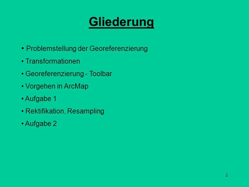 2 Gliederung Problemstellung der Georeferenzierung Transformationen Georeferenzierung - Toolbar Vorgehen in ArcMap Aufgabe 1 Rektifikation, Resampling