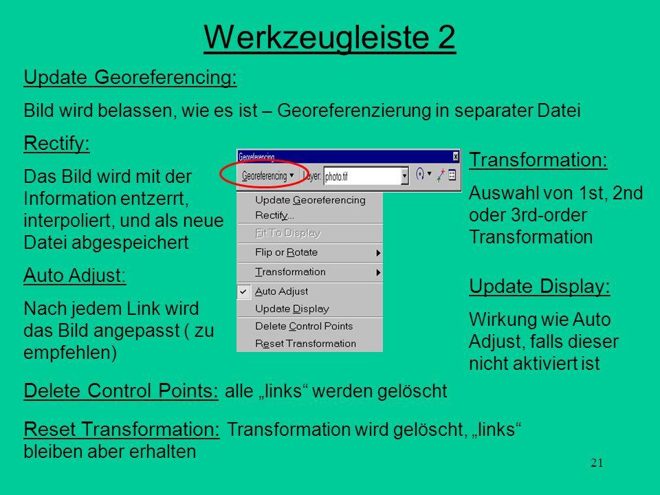 21 Werkzeugleiste 2 Update Georeferencing: Bild wird belassen, wie es ist – Georeferenzierung in separater Datei Rectify: Das Bild wird mit der Inform