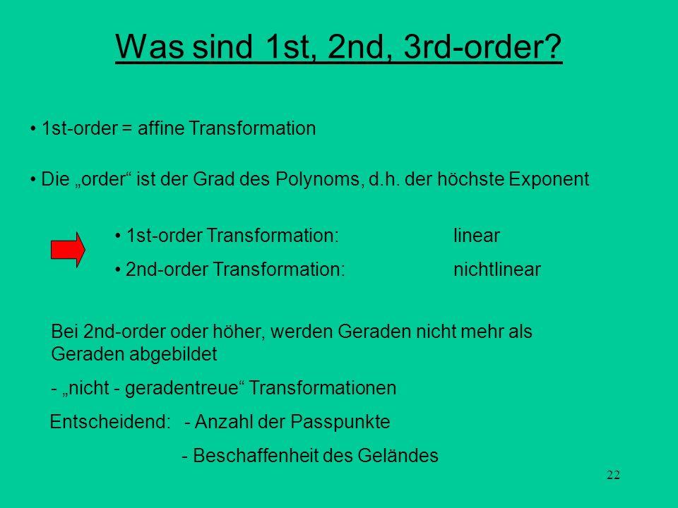 22 Was sind 1st, 2nd, 3rd-order? Entscheidend: - Anzahl der Passpunkte - Beschaffenheit des Geländes Bei 2nd-order oder höher, werden Geraden nicht me