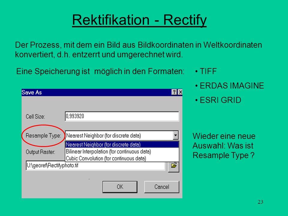 23 Rektifikation - Rectify Wieder eine neue Auswahl: Was ist Resample Type ? Der Prozess, mit dem ein Bild aus Bildkoordinaten in Weltkoordinaten konv