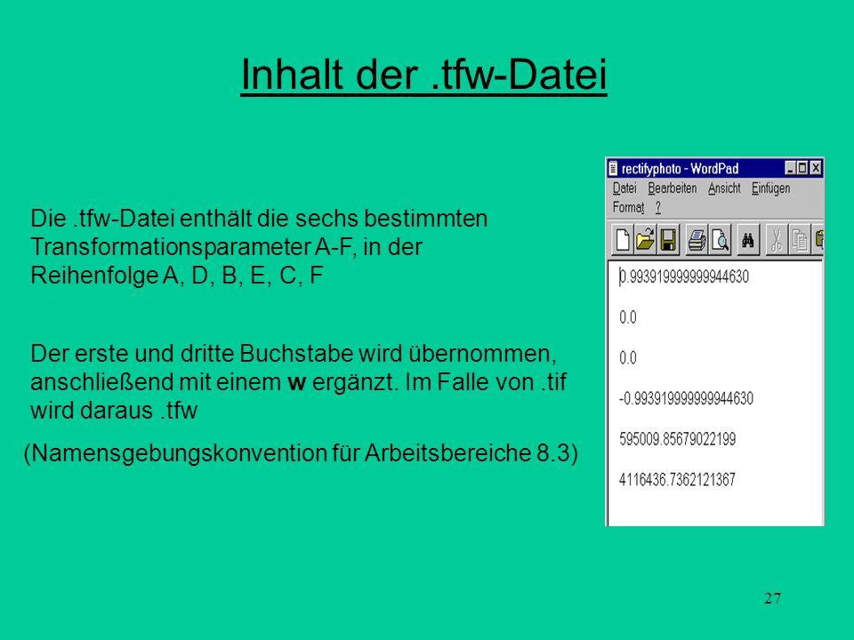27 Inhalt der.tfw-Datei (Namensgebungskonvention für Arbeitsbereiche 8.3) Der erste und dritte Buchstabe wird übernommen, anschließend mit einem w erg