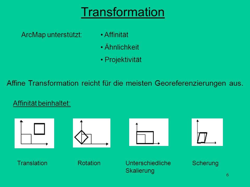7 Transformationsparameter Affinität: x = Ax + By + C y = Dx + Ey + F x,y = berechnete Koordinaten des Pixels auf der Karte x = Spaltennummer eines Bildpixels y = Zeilennummer eines Bildpixels A = Dimension eines Pixels in Karteneinheiten in x-Richtung B,D = Rotation E = Dimension eines Pixels in Karteneinheiten in y-Richtung C,F = Translation, x und y Kartenkoordinaten der Pixelmitte der linken oberen Ecke In Matrizenschreibweise: