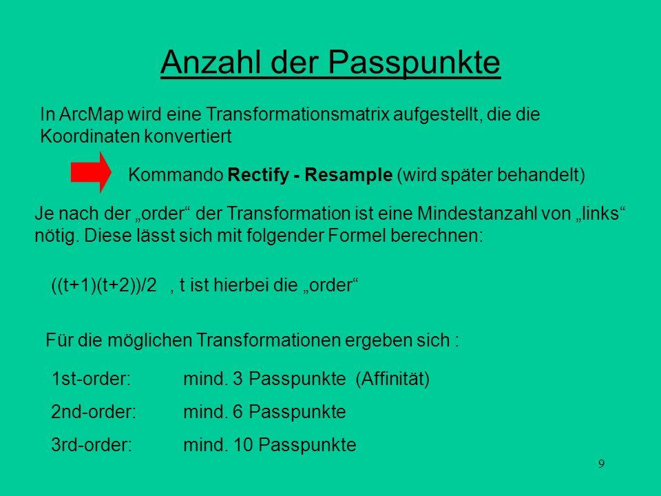 9 Anzahl der Passpunkte In ArcMap wird eine Transformationsmatrix aufgestellt, die die Koordinaten konvertiert Kommando Rectify - Resample (wird späte