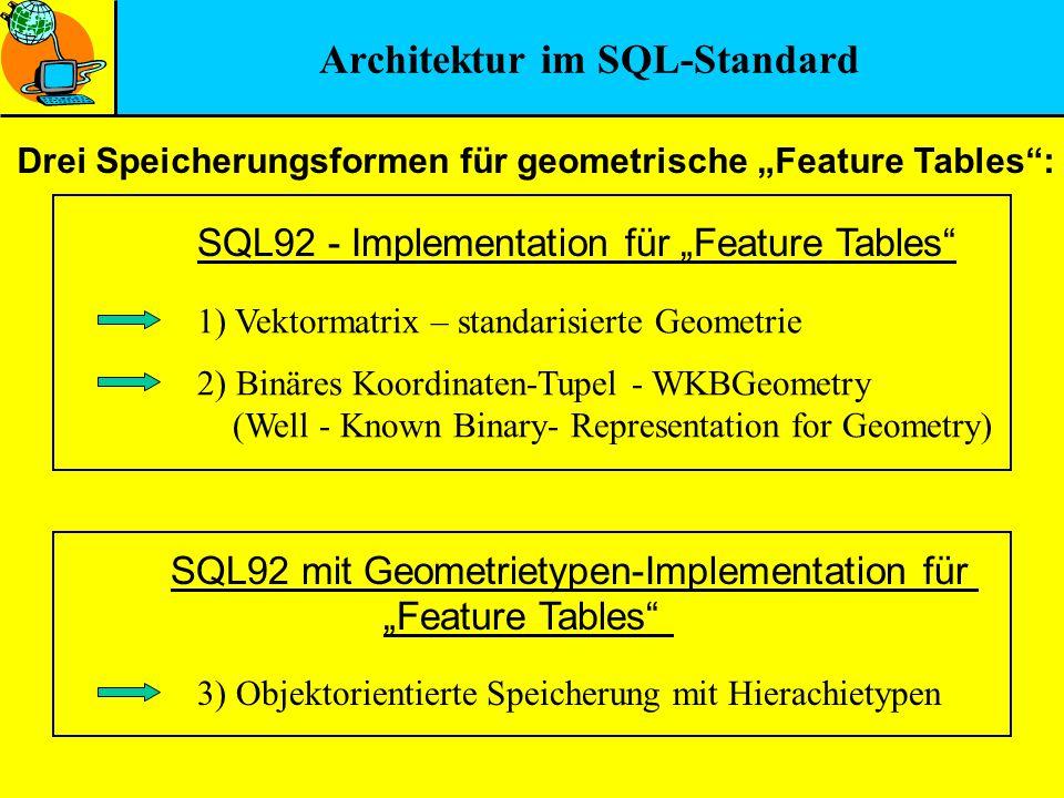 Architektur im SQL-Standard Drei Speicherungsformen für geometrische Feature Tables: 1) Vektormatrix – standarisierte Geometrie 2) Binäres Koordinaten