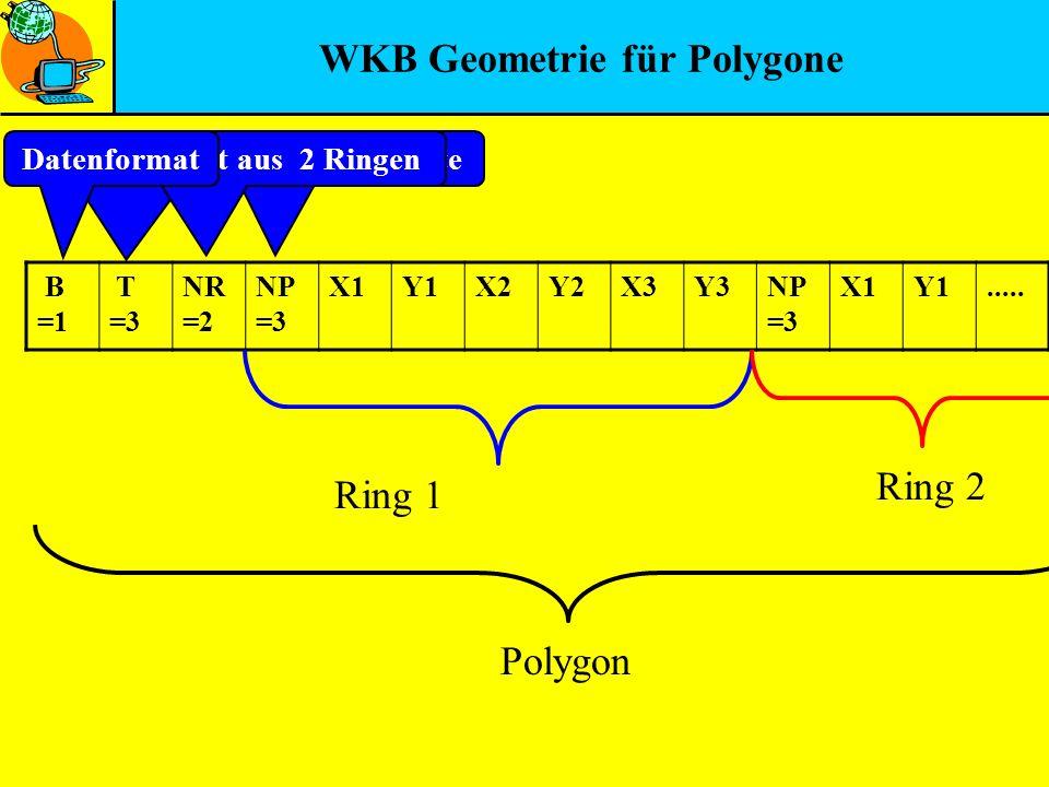 WKB Geometrie für Polygone B =1 T =3 NR =2 NP =3 X1Y1X2Y2X3Y3NP =3 X1Y1..... Ring 1 Ring 2 Polygon Ring hat 3 PunkteGeometrietyp 3 = PolygonBesteht au
