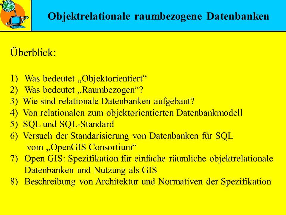 Objektrelationale raumbezogene Datenbanken Überblick: 1)Was bedeutet Objektorientiert 2)Was bedeutet Raumbezogen? 3) Wie sind relationale Datenbanken
