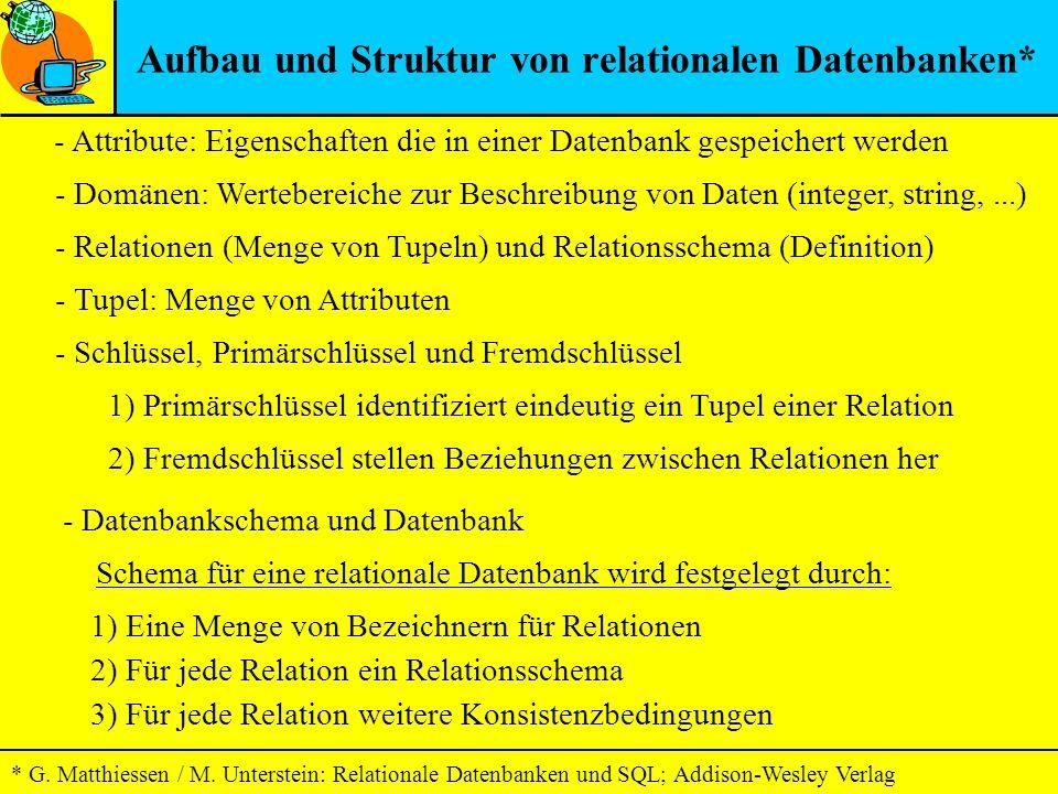 - Attribute: Eigenschaften die in einer Datenbank gespeichert werden Aufbau und Struktur von relationalen Datenbanken* - Domänen: Wertebereiche zur Be