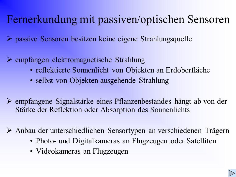 Fernerkundung mit passiven/optischen Sensoren passive Sensoren besitzen keine eigene Strahlungsquelle empfangen elektromagnetische Strahlung reflektie