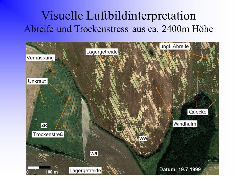 Visuelle Luftbildinterpretation Abreife und Trockenstress aus ca. 2400m Höhe