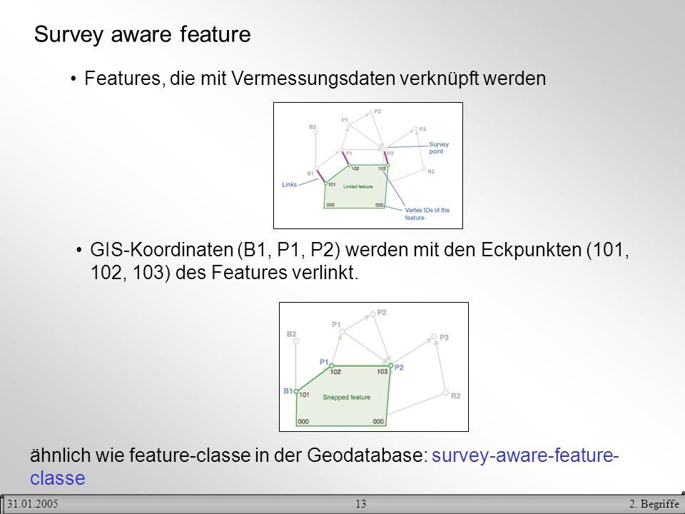 132. Begriffe31.01.2005 Survey aware feature Features, die mit Vermessungsdaten verknüpft werden GIS-Koordinaten (B1, P1, P2) werden mit den Eckpunkte
