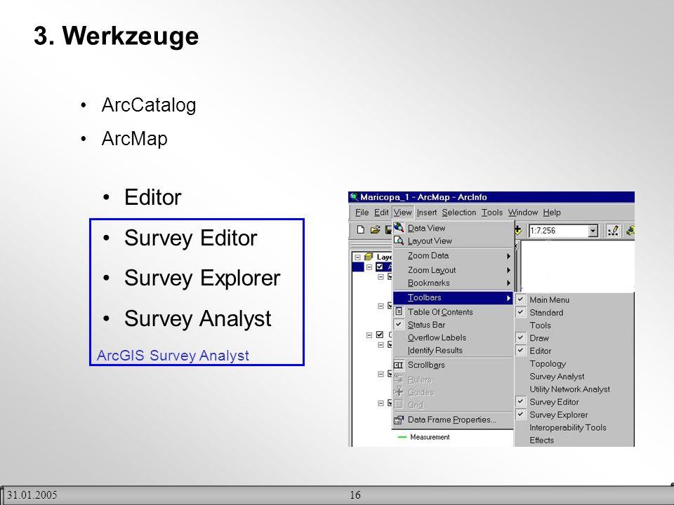 1631.01.2005 3. Werkzeuge ArcCatalog ArcMap Editor Survey Editor Survey Explorer Survey Analyst ArcGIS Survey Analyst