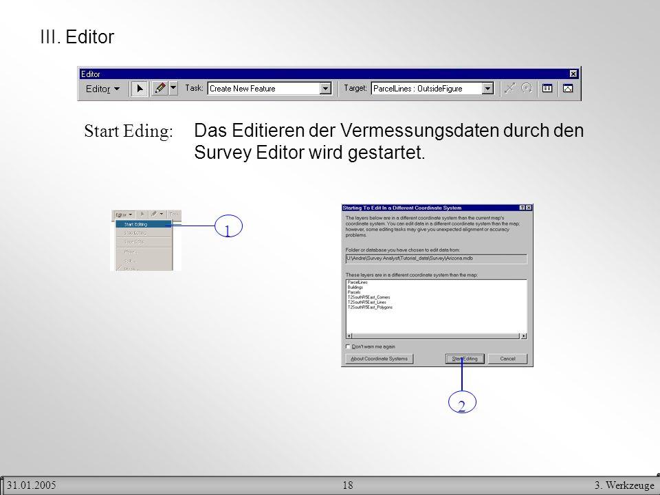 183. Werkzeuge31.01.2005 III. Editor Start Eding: Das Editieren der Vermessungsdaten durch den Survey Editor wird gestartet. 1 2
