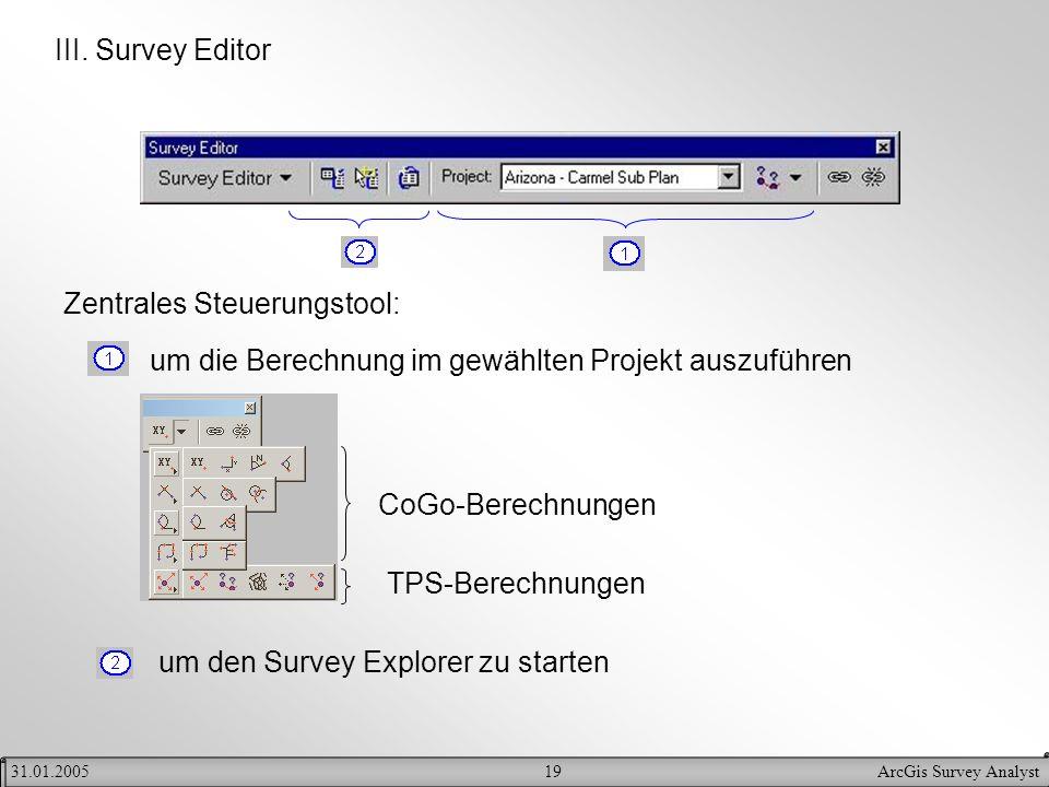 19ArcGis Survey Analyst31.01.2005 III. Survey Editor Zentrales Steuerungstool: um die Berechnung im gewählten Projekt auszuführen um den Survey Explor