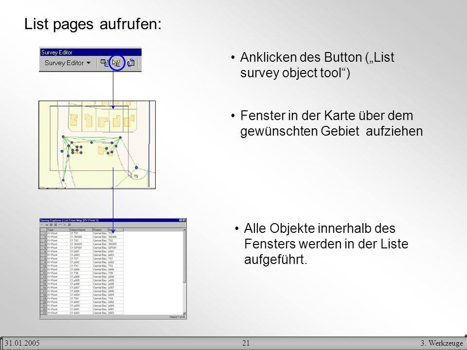213. Werkzeuge31.01.2005 List pages aufrufen: Anklicken des Button (List survey object tool) Fenster in der Karte über dem gewünschten Gebiet aufziehe
