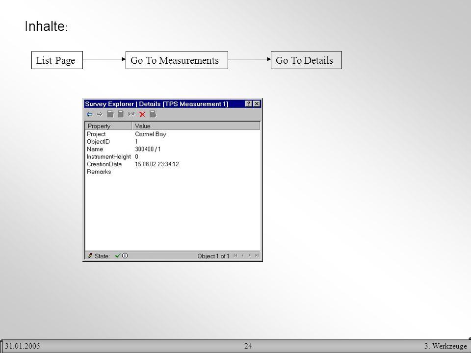 243. Werkzeuge31.01.2005 Inhalte : List PageGo To MeasurementsGo To Details