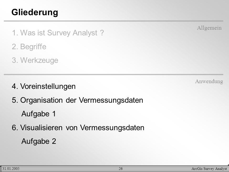 26ArcGis Survey Analyst31.01.2005 Gliederung 1. Was ist Survey Analyst ? 2. Begriffe 3. Werkzeuge Allgemein Anwendung 4. Voreinstellungen 5. Organisat