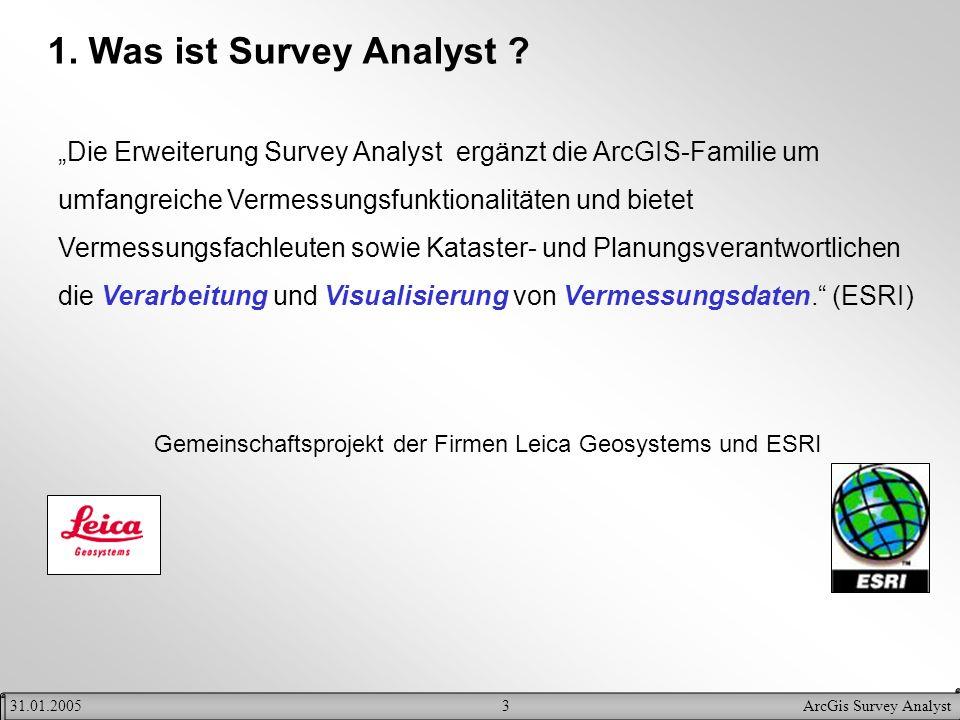 3ArcGis Survey Analyst31.01.2005 1. Was ist Survey Analyst ? Die Erweiterung Survey Analyst ergänzt die ArcGIS-Familie um umfangreiche Vermessungsfunk