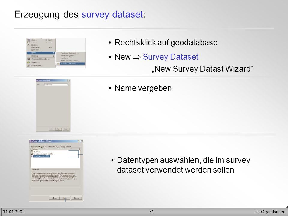 315. Organistaion31.01.2005 Erzeugung des survey dataset: Rechtsklick auf geodatabase New Survey Dataset New Survey Datast Wizard Name vergeben Datent