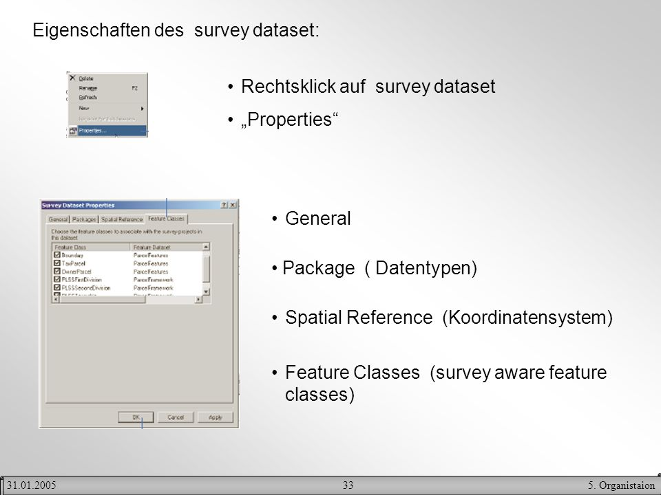 335. Organistaion31.01.2005 Eigenschaften des survey dataset: Rechtsklick auf survey dataset Properties General Package ( Datentypen) Spatial Referenc