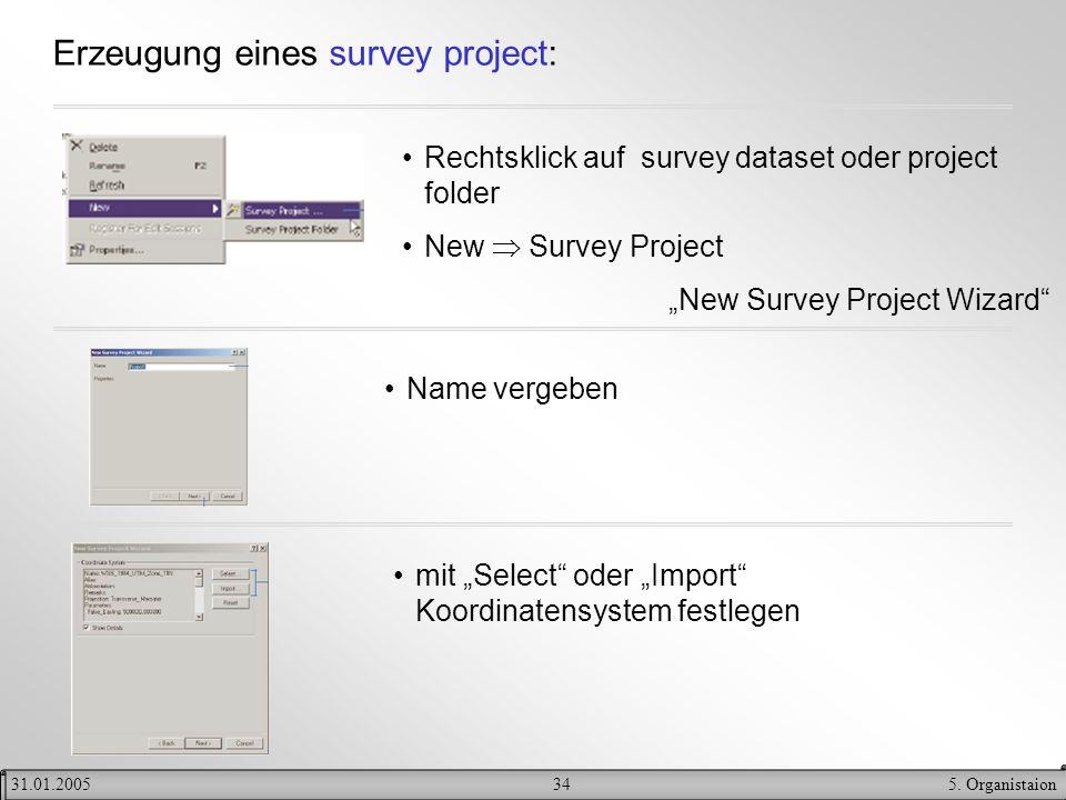 345. Organistaion31.01.2005 Erzeugung eines survey project: Rechtsklick auf survey dataset oder project folder New Survey Project New Survey Project W