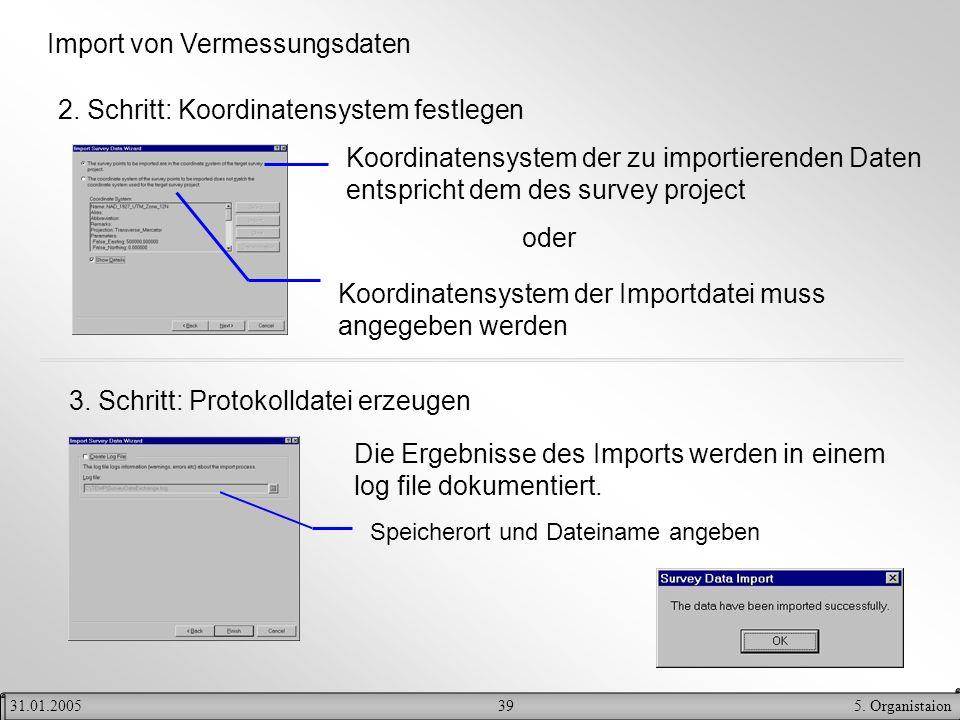 395. Organistaion31.01.2005 Import von Vermessungsdaten 2. Schritt: Koordinatensystem festlegen Koordinatensystem der zu importierenden Daten entspric