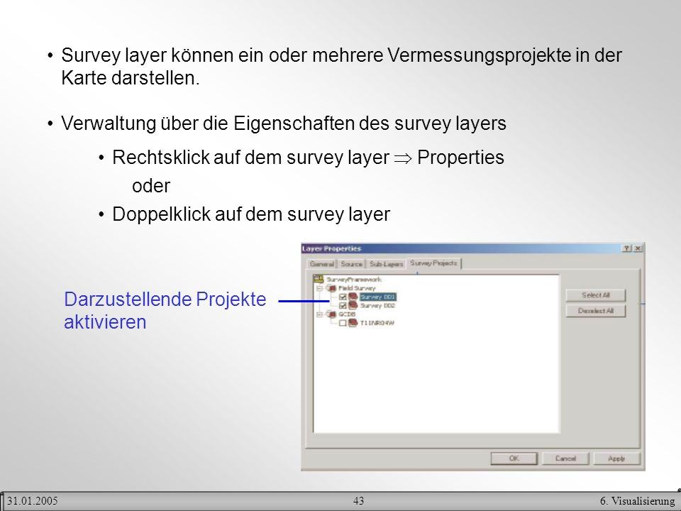 436. Visualisierung31.01.2005 Survey layer können ein oder mehrere Vermessungsprojekte in der Karte darstellen. Verwaltung über die Eigenschaften des