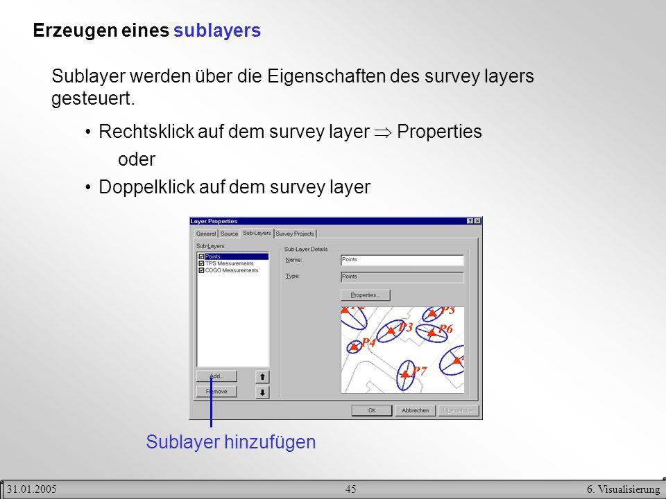 456. Visualisierung31.01.2005 Erzeugen eines sublayers Sublayer werden über die Eigenschaften des survey layers gesteuert. Rechtsklick auf dem survey